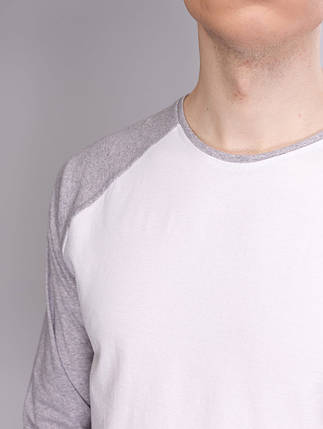 Лонгслив, рукав реглан білий-світло сірий, фото 2
