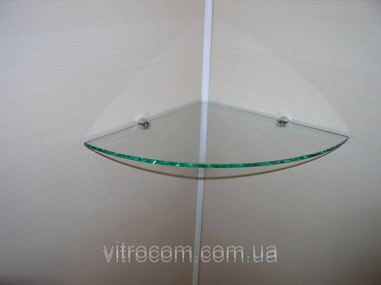 Полка стеклянная угловая 6 мм прозрачная 23 х 23 см