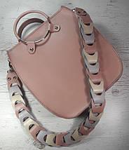 105-2 Сумка женская натуральная кожа, розовая пудровая, фото 2