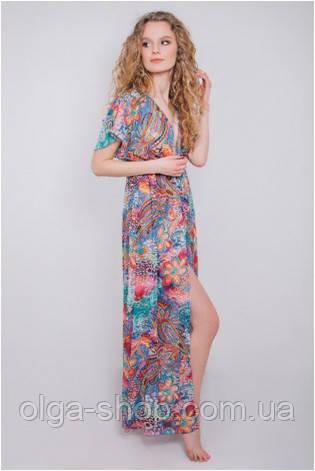 Пляжное платье туника женская шифон цветная длинная парео Calipso 054