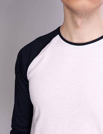 Лонгслив, рукав реглан білий-чорний, фото 2