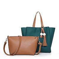 Женская сумка с кисточками большая синяя + клатч из экокожи опт, фото 1