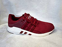 Мужские кроссовки Adidas EQT бордовые замшевые, фото 1