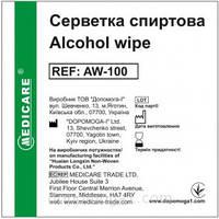 Салфетки, пропитанные спиртовым раствором 3х6 см Мedicare №100