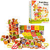 Шнуровка пирамидка лото деревянная игра овощи фрукты, в наборе 60 предметов
