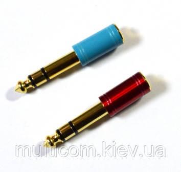 02-00-083. Переходник штекер 6,3 стерео - гнездо 3,5 стерео, PowerCon, gold pin, красный и синий