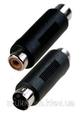 02-00-161. Переходник штекер mini din 4 pin (S-Video) - гнездо RCA, корпус пластик