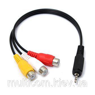 02-00-010. Переходник штекер 2,5 4-х конт. - 3 гнезда RCA, с кабелем 20см