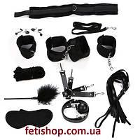 Эротичный БДСМ набор из текстиля 11 предметов  Черный