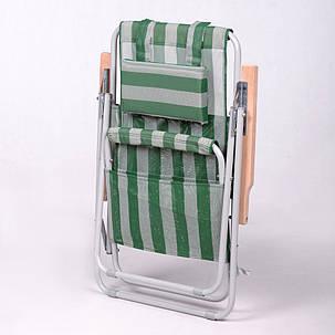 """Кресло-шезлонг """"Ясень"""" d20 мм (текстилен бело-зелёный), фото 2"""