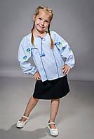 Детская рубашка в полосочку с вышивкой для девочки