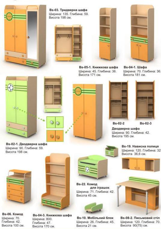 Детская комната Active (ассортимент мебели шкафы, размеры)