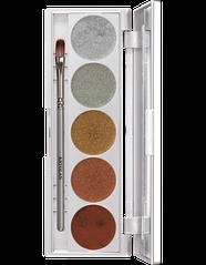 Палитра кремовых теней с металлическими оттенками и кистью, 5 цветов