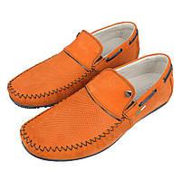 Стильні чоловічі мокасини Lemar 1315/3 orange в яскравому помаранчевому кольорі
