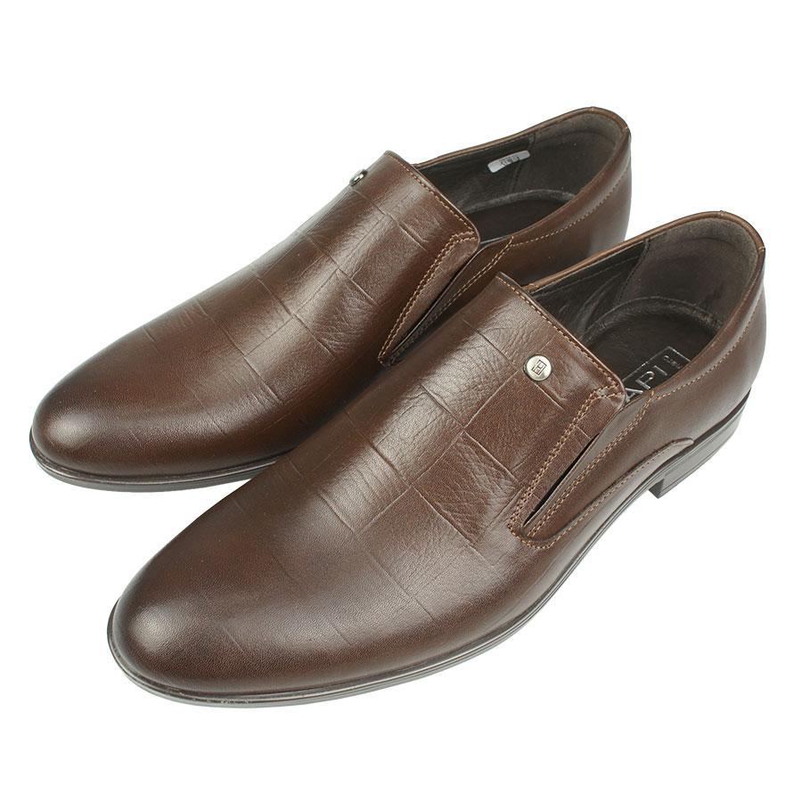 Шкіряні чоловічі туфлі Tapi j-6048/P13 Brazowy в коричневому кольорі