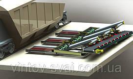 Мобильные установка разгрузки вагонов хопперов сыпучих грузов с 3-мя приемными конвейерами.