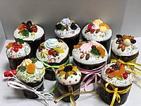 Пасхальный кулич украшенный  в стиле Рустик , фото 1