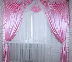 Ламбрекен и шторы из атласа 3 метра №19. Цвет сетло-розовый
