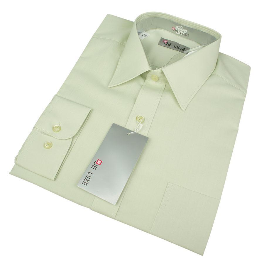 Класична чоловіча сорочка De Luxe 401D в світло-оливковому кольорі