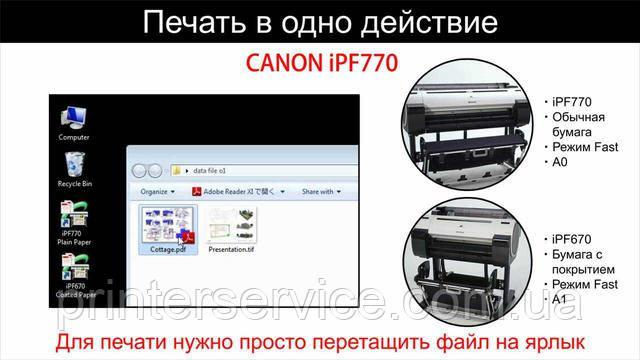 Печать в одно действие для Canon iPF TX