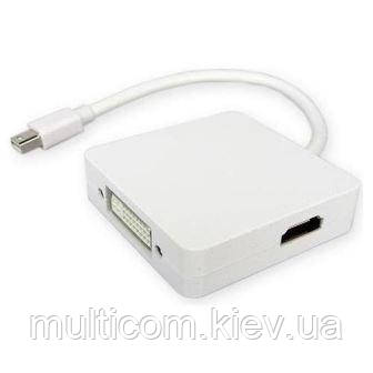 03-00-086. Переходник штекер mini Display Port - 3 гнезда (HDMI, DVI, Display Port), с кабелем 0,2м