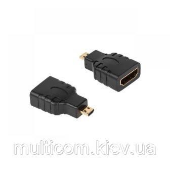 02-01-026. Переходник штекер micro HDMI - гнездо HDMI, gold pin, корпус пластик
