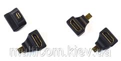02-01-028. Переходник штекер micro HDMI - гнездо HDMI, gold pin, угловой, корпус пластик