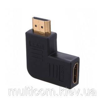 02-01-004. Переходник штекер HDMI - гнездо.HDMI, угловой, горизонтальный, левый, gold pin