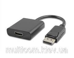03-00-072. Переходник штекер Display Port → гнездо HDMI, gold pin, черный, шнур 20см