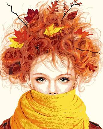 AS0195 Набор-раскраска по номерам Девушка-осень, фото 2