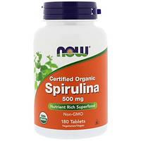 Now Foods, Сертифицированная натуральная спирулина, 500 мг, 180 таблеток