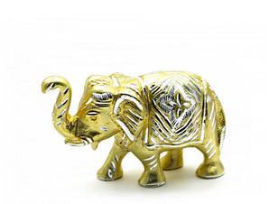 Слон резной алюминий (19х10,5х6 см)