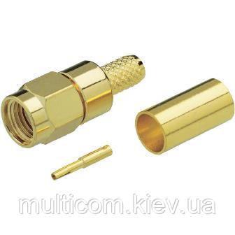 01-11-069. Штекер SMA (реверсный) (RG-6) под кабель, обжимной, латунь