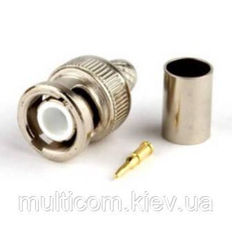 01-10-022. Штекер BNC (RG-6) под кабель, обжимной, латунь