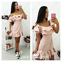 93e80738e23 Женское приталенное платье с двойным воланом в расцветках. ЛВ-12-0318