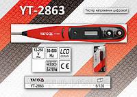 Тестер напряжения цифровой 12-250В., 50-500Hz., LCD,  YATO YT-2863