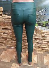 Лосины кожаные темно-зеленые, фото 3