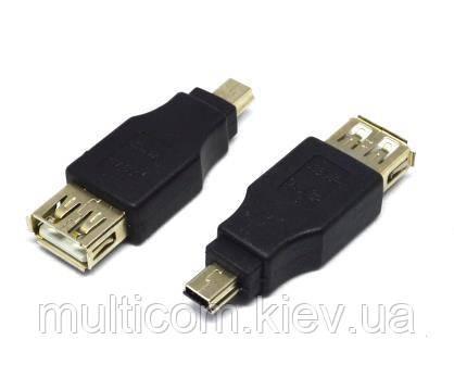 01-08-221. Переходник гнездо USB тип A - штекер mini USB, 5pin