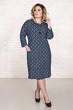 Стильное платье размер плюс Дженни мятный узор (52-62)