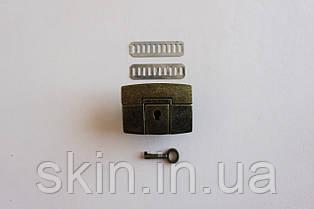Замок клавишный для сумки, размер - 48мм. * 37мм., цвет - антик, артикул СК 5226