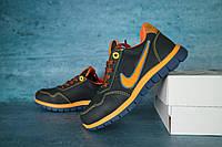 Детские кожаные кроссовки Nike Синий\Рыжий 10637 Реплика