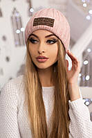 Теплая женская шапка в цвете пудра 4462