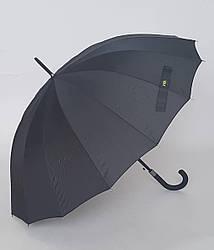 Зонт-трость черного цвета 16 спиц