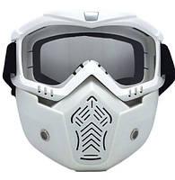 Тактическая маска.Маска на все лицо для мотоциклистов и велосипедистов. Белая рамка прозрачная линза