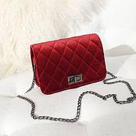 Женская маленькая сумочка бархатная с цепочкой красная опт, фото 1
