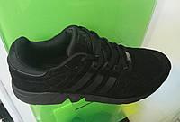 Мужские кроссовки Adidas EQT черные c черным замшевые, фото 1
