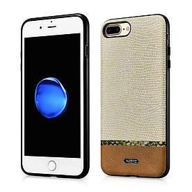 Чехол накладка iPhone 8 Plus | iPhone 7 Plus силиконовый с кожаной поверхностью XOOMZ Змеиная кожа, коричневый
