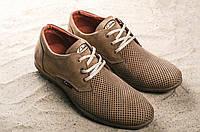 Мужские кожаные туфли классические летние в сетку, фото 1