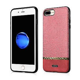Чехол накладка iPhone 8 Plus | iPhone 7 Plus силиконовый с кожаной поверхностью XOOMZ Змеиная кожа, красный