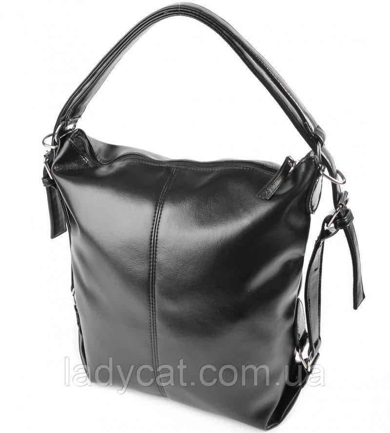 Черная женскаясумка-рюкзакиз кожзаменителя